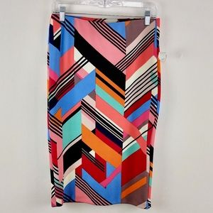 eci Pencil Skirt Long Colorful Graphic Retro Print